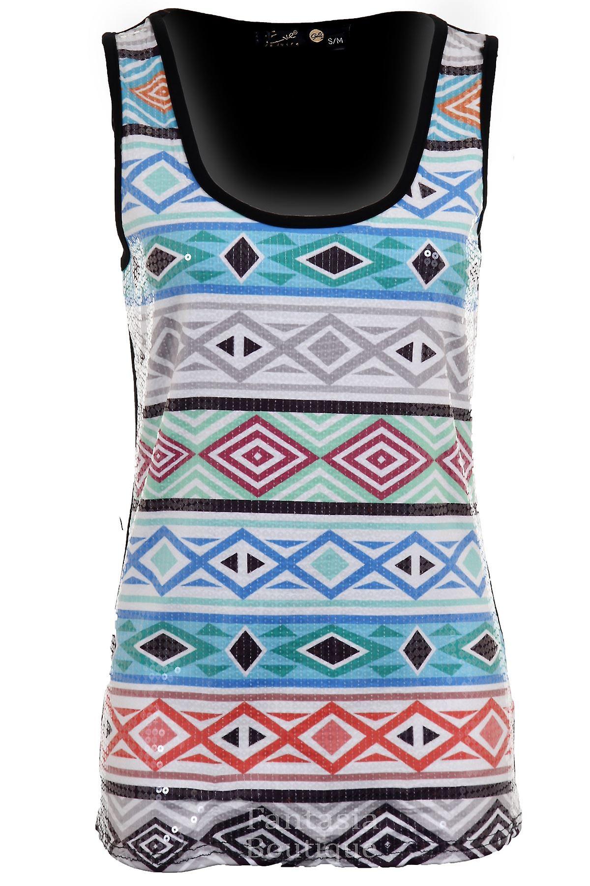 Ladies Sequin Diamond Aztec Multi Coloured Abstract Racer Women's Plain Back Top Vest