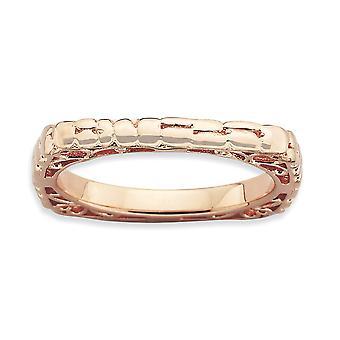 2.25mm 925 sterling sølv mønstret stables uttrykk polert rosa plate firkantet ring smykker gaver til kvinner - Rin