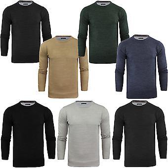 Rohkea sielu miesten jäsentää neulottu aukkoinen Crewneck Jumper pusero Pullover pusero
