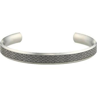 Ti2 Titanium 8mm bredt Shamfered Triline Bangle - sølv