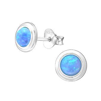 Pyöreä-925 Sterling hopea Opal ja puolijalokivet korva napit-W24092X