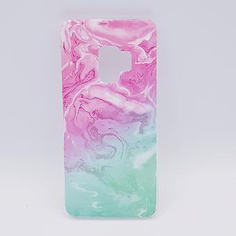 For Samsung Galaxy S9-pouch-Pink & green swirl