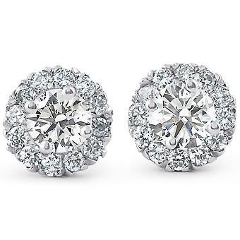 7 / 8ct Halo Diamant Ohrstecker 14k White Gold
