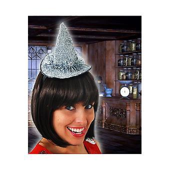 Accesorios para el cabello pequeño sombrero de la bruja de plata
