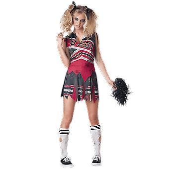 Womens Spiritless Cheerleader Zombie Halloween Fancy Dress Costume