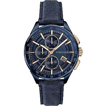 Versace Herren Uhr Armbanduhr Chronograph GLAZE Leder VEBJ00318