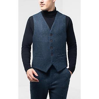 Schottische Harris Tweed Herren blau & schwarz Fischgrät Tweed Weste regelmäßige Passform