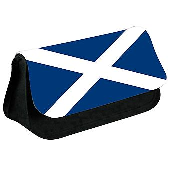 Scotland Flag Printed Design Pencil Case for Stationary/Cosmetic - 0230 (Black) by i-Tronixs