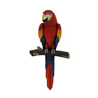 Red Tropical Parrot On Perch Wall Hanging