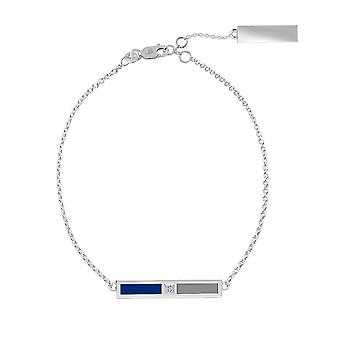 University Of Memphis Sterling Silver Diamond Bar Chain Bracelet In Blue and Grey
