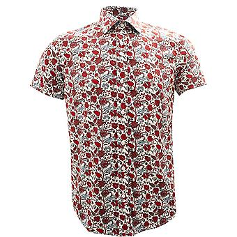 Guide London Red Flowers Print Pure Cotton Short Sleeve Mens Shirt
