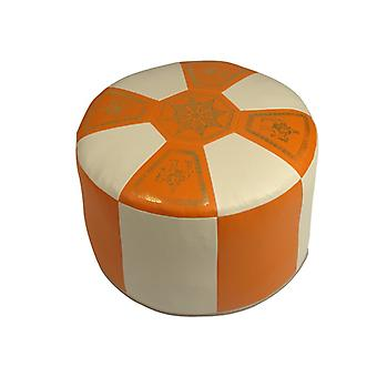 Seat cushion Pouffe Oriental pillow around faux leather terra/champagne, width 50 cm, height 34 cm