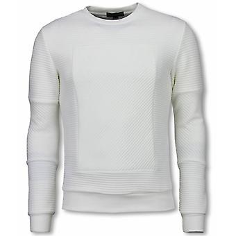 3D Ribbel Square Crewneck-sweatshirt-White
