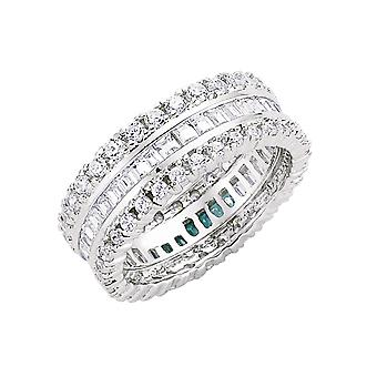 Jewelco London Rhodium Plated Silver Round Brilliant and Princess Cut Cubic Zirconia 3 Row Channel Eternity Ring