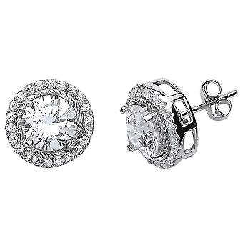 Jewelco London Rhodium Plaqué Sterling Silver Round Brilliant Cubic Zirconia Halo Stud Boucles d'oreilles