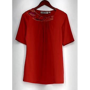 George Simonton Top Stretch Knit w/ Embellished Neckline Orange A277118