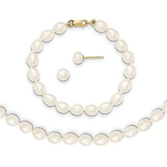 14k Yellow Gold 5 6mm Freshwater Cultured Pearl White 5inch Bracelet 14in Necklace Earrings Set Jewelry Gifts for Women