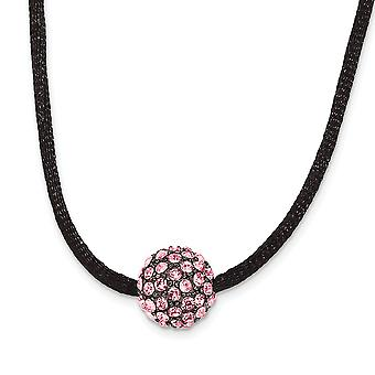 Black Plating Fancy Lobster Closure Black Plated Pink Crystal Fireball 16 Inch com ext Satin Cord Necklace Jewely Gift
