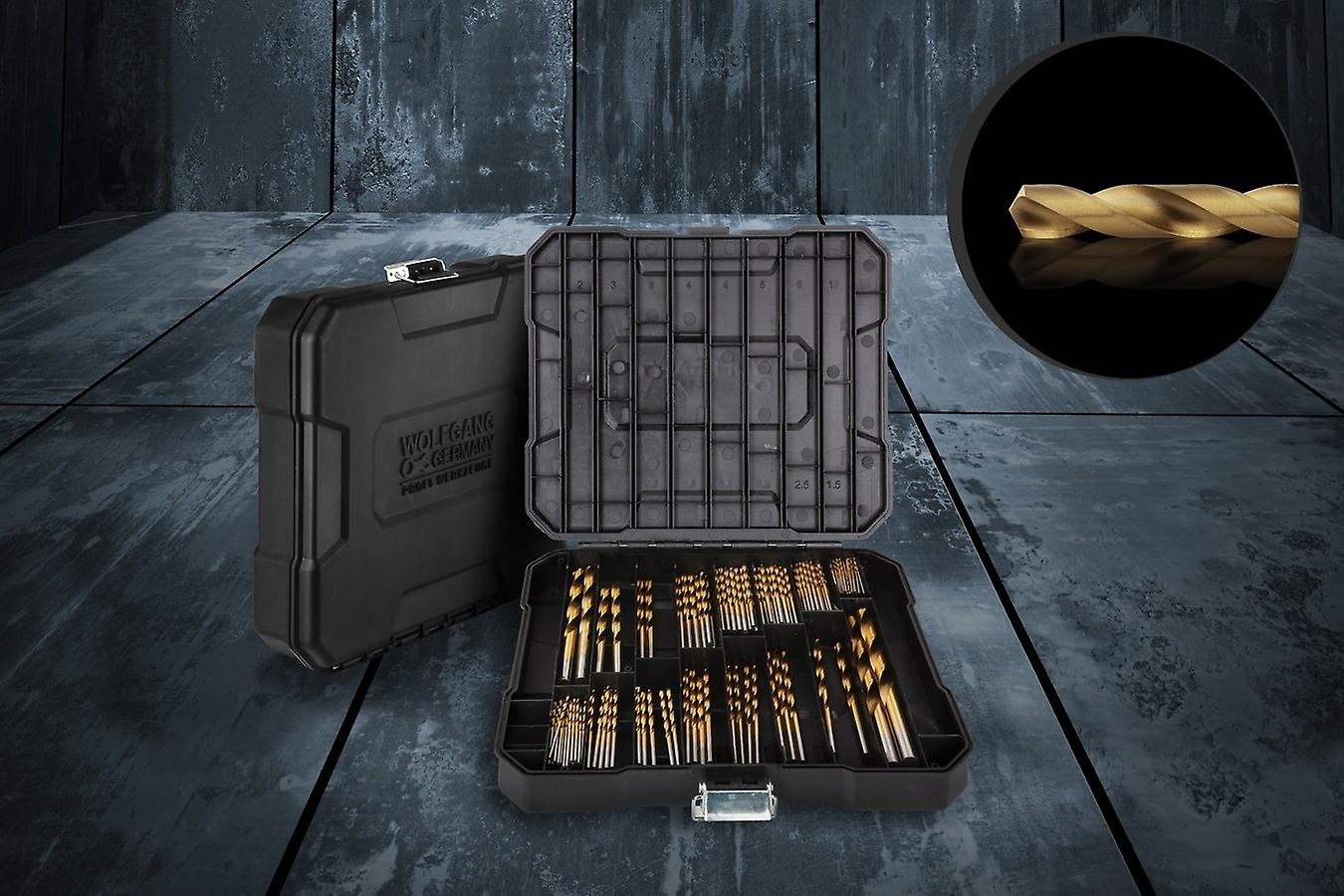 WOLFGANG 100 Parts Drill Set, Spiral Drill Set Metal with Case, HSS Titanium Coating DIN Type N, For Cordless Screwdriver, Drill, SDS-plus Drill Set, Drilling in Hard Plastic and Metal