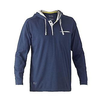 Bisley Flex & Move Cotton Hooded Long Sleeved T-Shirt Small Blue Marle