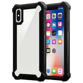 Cadorabo Hülle für Apple iPhone XS MAX hülle case cover - 2-in-1 Handyhülle mit TPU Silikon-Rand und Acryl-Glas-Rücken – Schutzhülle Hybrid Hardcase Back Case