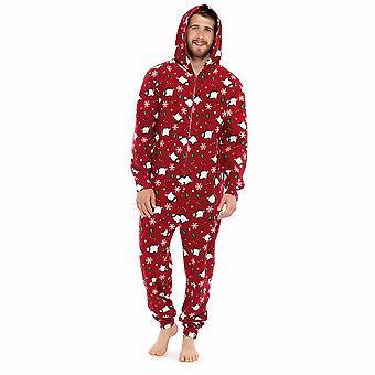 Mens Xmas Print Fleece Onesie Sleepwear Loungewear