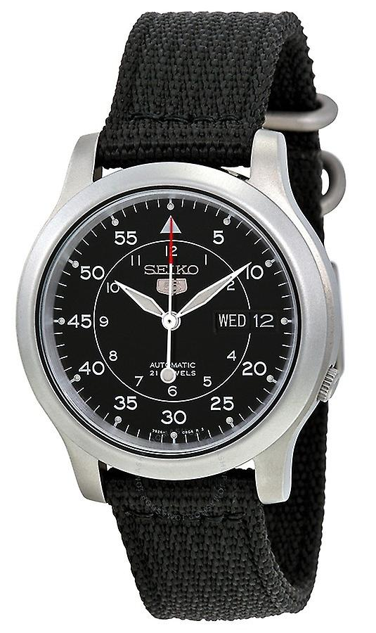 Seiko 5 Automatic Black Dial Military Style Canvas Strap Men's Watch SNK809K2