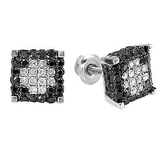 Dazzlingrock Collection 0.85 Carat (ctw) Black & White Diamond Ice Cube Stud Earrings, Sterling Silver