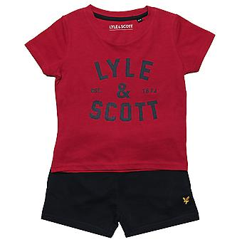 Baby Boys Lyle And Scott T-Shirt Short Set In Red- T-Shirt:- Short Sleeve-