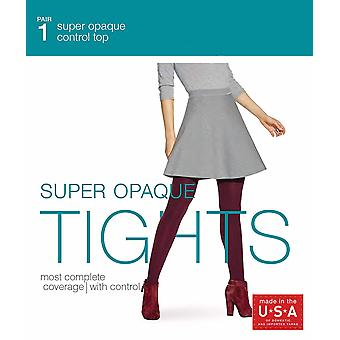 No Nonsense Women's Super Opaque Control Top Tight, Black, Small