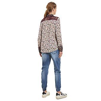 Desigual Women's Konya Paisley Print Lace Shoulder Shirt