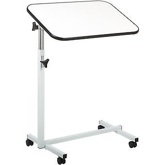 bijzettafel - bedtafel - zijtafel - blad 60,5 x 40.5 cm - wit - met wielen