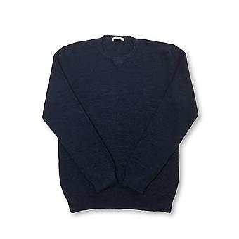 Circolo crew neck knitwear in navy blue cotton/wool mix