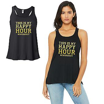 Happy Hour I Work Out-GOLD Work Out Womens Black Tank Top