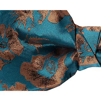 Dobell Mens Teal Graphic Floral Print Bow Tie Pre-Tied