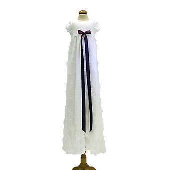 Dopklänning I Vit Spets Med Lila-rosa Rosett. Grace Of Sweden