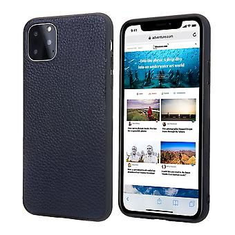 Voor iPhone 11 Pro Case echt lederen duurzame slim fit beschermhoes blauw