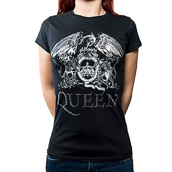 Queen T Shirt band Logo diamante new Official Womens Skinny Fit Black