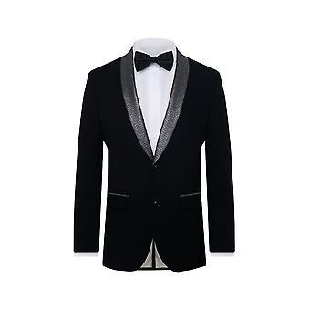 Baten Londen mens zwarte Tuxedo jas skinny fit contrast Shimmer revers