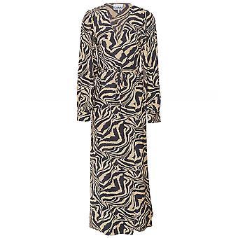 Ganni Zebra Print Crepe Wrap Dress