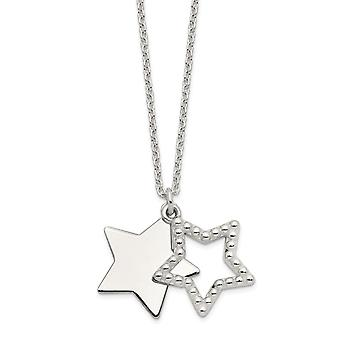 925 Sterling Silver Polished Beaded Cut out Star Pendant Necklace 16 Inch Jewelry Gifts for Women