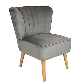 Charles Bentley Velvet Upholstered Pleated Retro Wingback Occasion/Lounge/Hallway/Bedroom Chair Grey