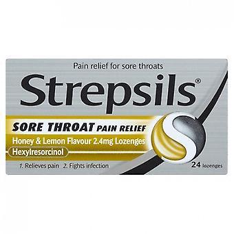 Strepsils Pastiller Sår Hals Smerte Relief Honning & Sitron Pakke med 24