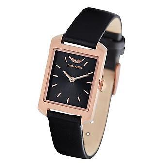 Zadig and Voltaire ZVT311 Watch - Steel Steel Pink Leather Bracelet Black Black Dial Women