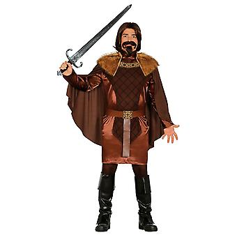 Mens Brown médiévale chevalier Fancy Dress Costume