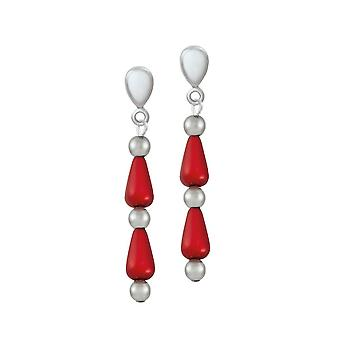 Eternal Collection Eureka Red Lucite Silver Tone Drop Clip On Earrings