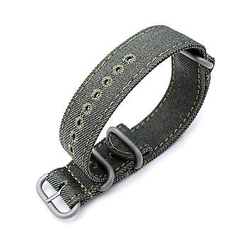 Strapcode n.a.t.o watch strap miltat 20mm or 22mm washed canvas zulu military green double thickness watch strap, lockstitch hole, green stitches