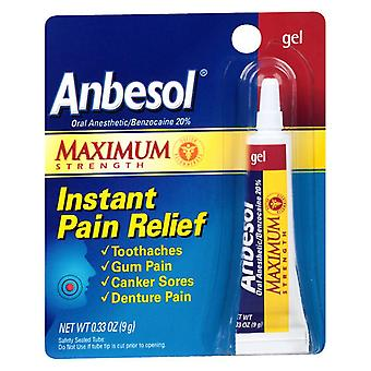 Anbesol maximum strength oral anesthetic gel, 0.33 oz