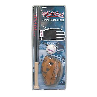 Keskilännen Junior Baseball Bat Mitt Käsine Ball Set
