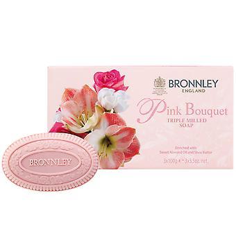 Bronnley Parfumé savon fait à la main - Pink Bouquet Triple Milled Soap - dans Gift Box 3x100g